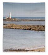 St Marys Lighthouse Across Sandy Bay Fleece Blanket