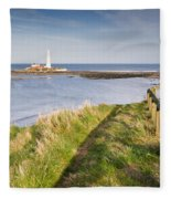 St Marys Lighthouse From Cliff Top Fleece Blanket