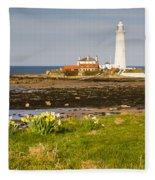 St Marys Lighthouse With Daffodils Fleece Blanket