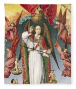 St. Michael Weighing The Souls, From The Last Judgement, C.1445-50 Oil On Panel Detail Of 170072 Fleece Blanket