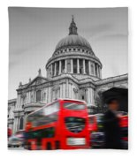 St Pauls Cathedral In London Uk Red Buses In Motion Fleece Blanket