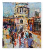 St Paul's From The Millennium Bridge Fleece Blanket