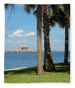 St Pete Pier Through Palm Trees Fleece Blanket