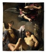 St. Sebastian Succoured By Two Angels Fleece Blanket