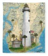 St Simons Lighthouse Ga Nautical Chart Map Art Cathy Peek Fleece Blanket