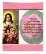 St. Theresa Prayer With Pink Border Fleece Blanket