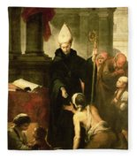 St. Thomas Of Villanueva Distributing Alms, 1678 Oil On Canvas Fleece Blanket