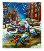 St Urbain Street Boys Playing Hockey Fleece Blanket