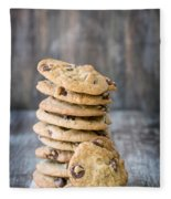 Stack Of Chocolate Chip Cookies With One Leaning Kitchen Art Fleece Blanket