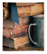 Stack Of Vintage Books Fleece Blanket