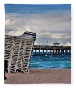 Stacked Beach Chairs Fleece Blanket