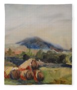 Stacked Hay Bales Fleece Blanket