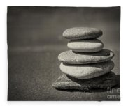 Stacked Pebbles On Beach Fleece Blanket
