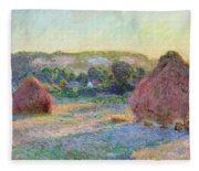 Stacks Of Wheat. End Of Summer Fleece Blanket