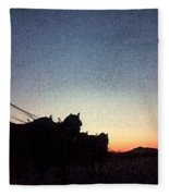 Stagecoach Riding Off Into The Sunset Fleece Blanket