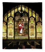 Stain Glass Behold I Stand At The Door And Knock Fleece Blanket