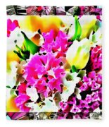 Stain Glass Framed Florals Fleece Blanket