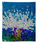 Stained Glass Anemone 1 Fleece Blanket