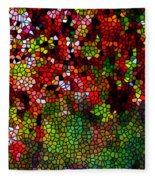 Stained Glass Autumn Leaves Reflecting In Water Fleece Blanket