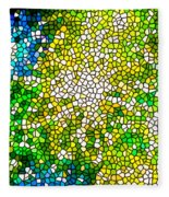 Stained Glass Beautiful Fireworks Fleece Blanket