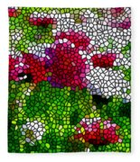 Stained Glass Chrysanthemum Flowers Fleece Blanket