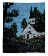 Stained Glass Church Scene Fleece Blanket
