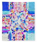 Stained Glass Colorful Cross Fleece Blanket