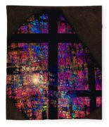 Stained Glass Cross Fleece Blanket