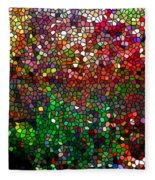 Stained Glass  Fall Reflected In The Still Waters Fleece Blanket