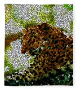 Stained Glass Leopard 2 Fleece Blanket