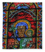 Stained Glass Of Chartres Fleece Blanket