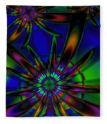 Stained Glass Passion Flowers Fleece Blanket