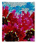 Stained Glass Red Sunflowers Fleece Blanket