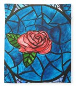 Stained Glass Roses Fleece Blanket