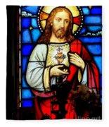 Stained Glass Saviour Fleece Blanket