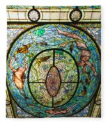 Stained Glass Skylight In Fordyce Bathhouse Fleece Blanket