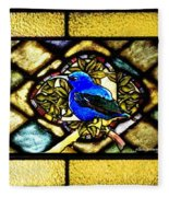Stained Glass Template Blue Bird Of Happiness Fleece Blanket
