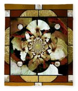 Stained Glass Template Sepia Flora Kalidescope Fleece Blanket