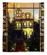 Stained Glass Template Victorian Twilight Fleece Blanket