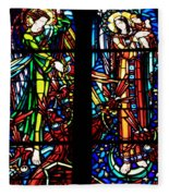 Stained Glass Window At Mont  Le Saint-michel Fleece Blanket