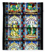 Stained Glass Window Of Santa Maria Del Fiore Church Florence Italy Fleece Blanket
