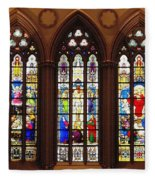 Stained Glass Windows At Saint Josephs Cathedral Buffalo New York Fleece Blanket