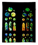 Stained Glass Windows - Sagrada Familia Barcelona Spain Fleece Blanket