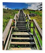 Stairs From The Beach Fleece Blanket