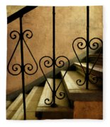 Stairs With Ornamented Handrail Fleece Blanket
