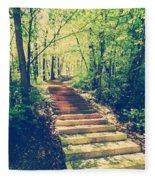 Stairway Into The Forest Fleece Blanket
