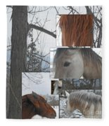 Stallions Collage There Is A Connection Fleece Blanket