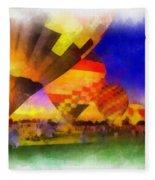 Standbye To Launch Hot Air Balloons Photo Art Fleece Blanket