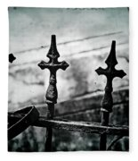 Standing Guard By Loved Ones - Bw Texture Fleece Blanket