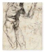 Standing Male Nude Fleece Blanket